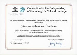 Convention for the Safeguarding ot the Intangible Cultural Heritage: Sauna culture in Finland